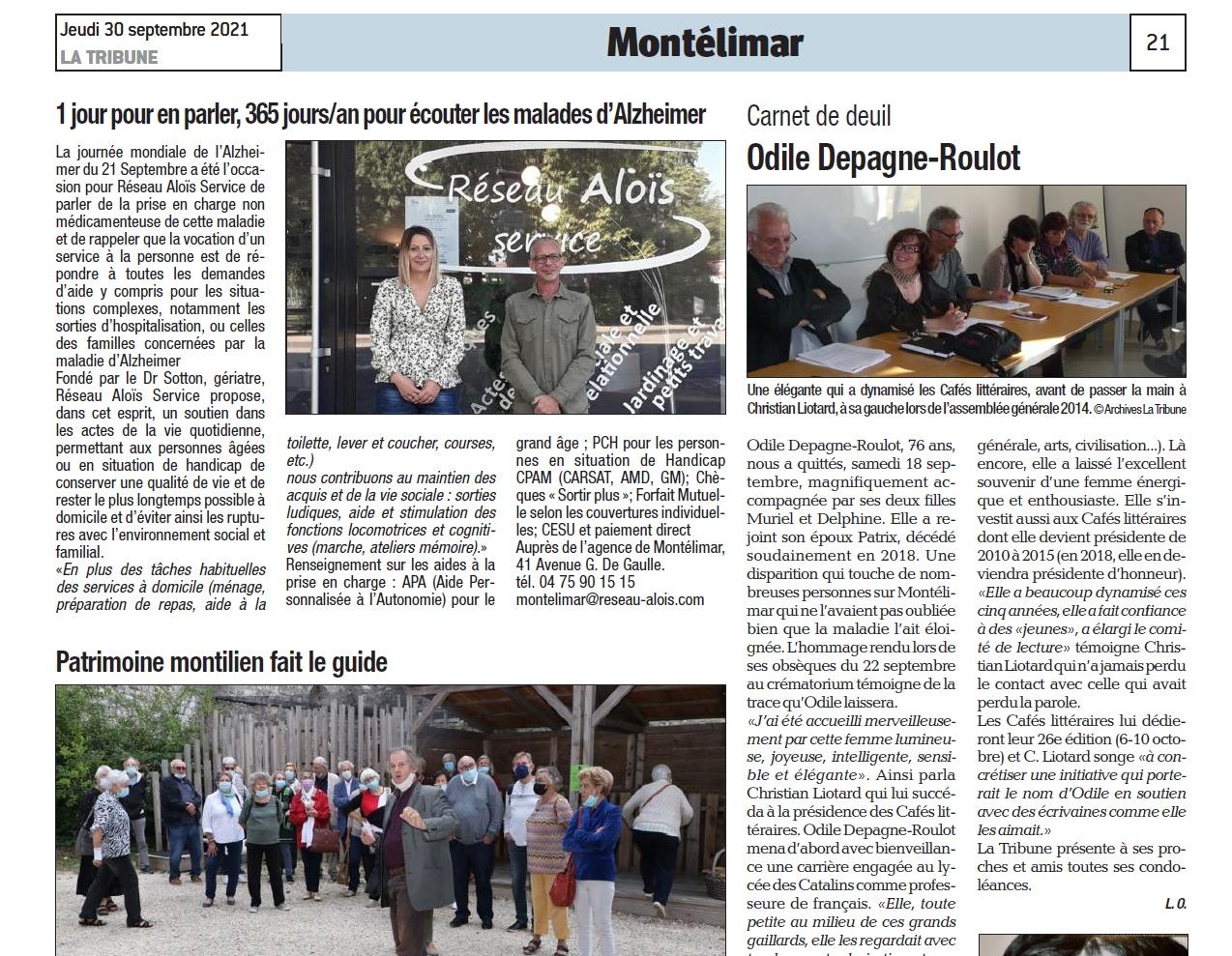 La Tribune 30 septembre 2021 (Montélimar)