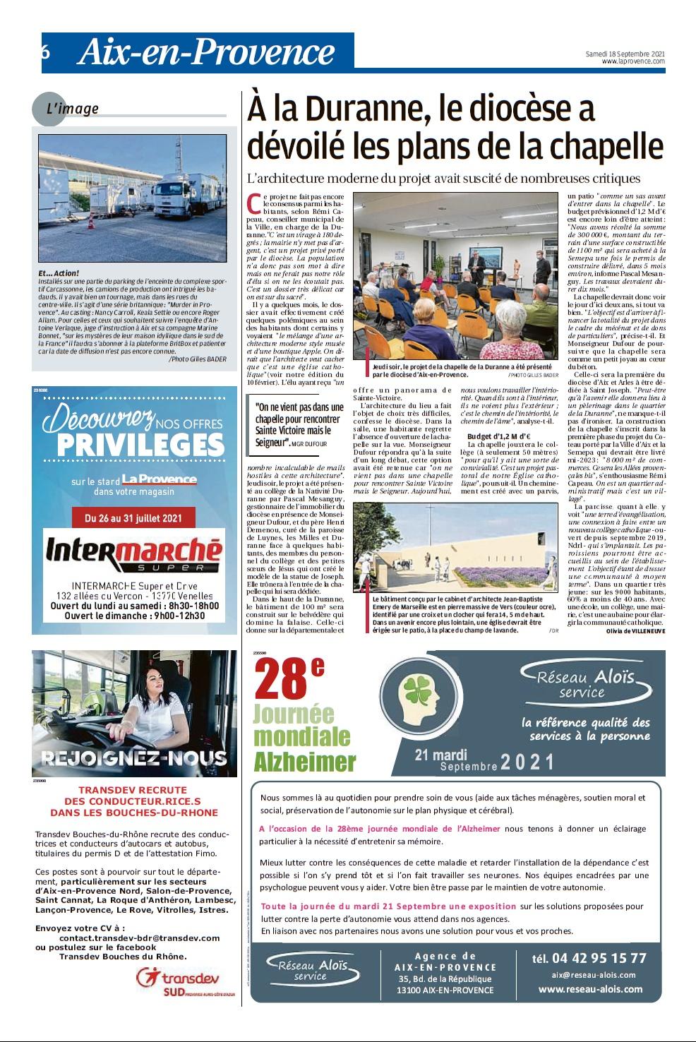 La Provence (Aix- Pays d'Aix) 18 septembre 2021